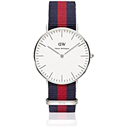 Daniel Wellington Oxford Silver Women's Quartz Watch with White Dial Analogue Display and Multicolour Nylon Strap 0601DW