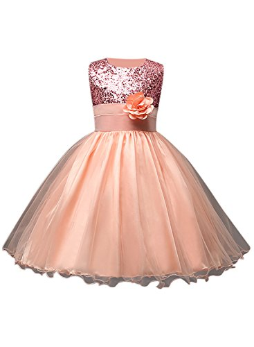 Azbro Girl's Sleeveless Flower Sequins Long Prom Dress pink