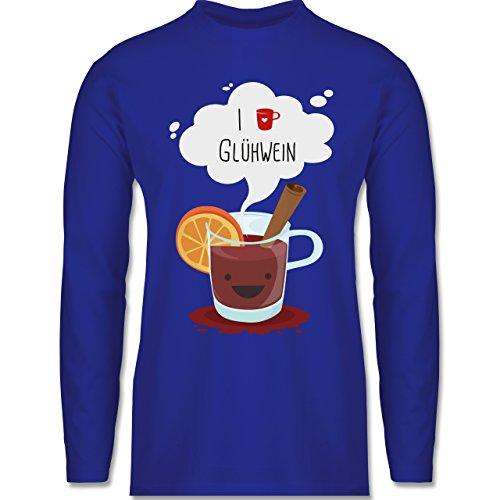 Weihnachten & Silvester - I love Glühwein glückliche Tasse - Longsleeve / langärmeliges T-Shirt für Herren Royalblau