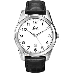 Limit Men's Quartz Watch with White Dial Analogue Display and Black Polyurethane Strap 5651.01