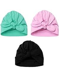 YiZYiF Lot de 3 Bébé Bonnets Nouveau né Coton Crochet Papillons Chapeau  Unisexe Bébé Garçon Fille 5a91d378cbc