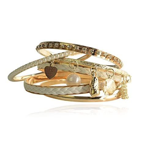 Lureme Bohemian Braided Pearl Charm Crystal Gold Tone Stackable Bangle Bracelet Set for Women 06000154-1*