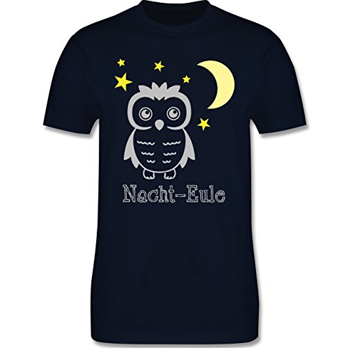Eulen, Füchse & Co. - Nacht-Eule - Herren Premium T-Shirt Navy Blau