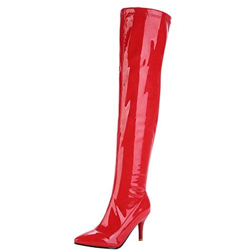 AIYOUMEI Damen Spitz Zehen Lack Stiletto High Heels Overknee Stiefel Eelgant Winter Langschaft Stiefel Schuhe