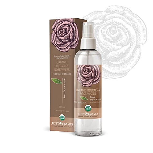 Alteya Organic Eau de rose bulgare 250m Spray - Certifiée 100% organique USDA, Pure, naturelle, bio et authentique, Eau florale distillée à la vapeur à partir de pétales fraiches de fleurs de Rosa Damascena bulgare, Vendue directement par le producteur et le distillateur de la rose Alteya Organics du cœur de la Vallée des roses bulgare