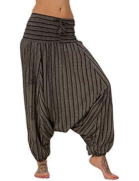 pantalones bombachos de entrepierna caída, 100% algodón, diseño de rayas