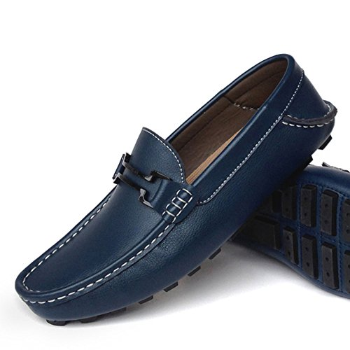 Herren Mokassins Leder Slip-on Lässige Loafer Fahren Bootsschuhe Loafers Flache Schuhe Blau Stil-2
