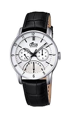 Lotus–Reloj con mecanismo de cuarzo para hombre color blanco esfera analógica pantalla y correa de cuero negro 18216/1 de Lotus