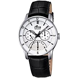 Lotus Men's Quartz Watch with White Dial Analogue Display and Black Leather Strap 18216/1