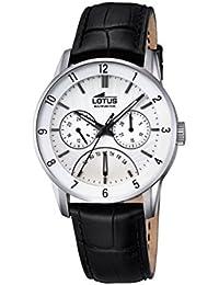 Lotus – Reloj con Mecanismo de Cuarzo para Hombre Color Blanco Esfera  analógica Pantalla y Correa de Cuero… 08ec2c206ac0