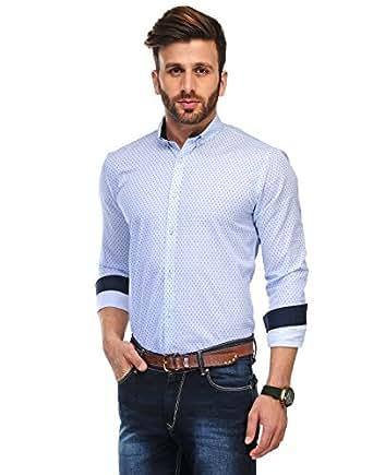 Edjoe Men's Sky Blue Dot Printed Slim Fit Casual/Party Wear Shirt