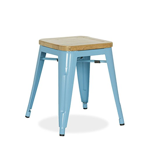SuperStudio lo+demoda Ural Color Edition - Taburete, Madera, 55 x 48 x 84 cm, Color Azul Claro
