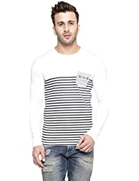 New Trendy Gespo Men'S Cotton Round Neck Full Sleeves Tshirt (White)