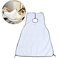 Beard Bib, Wowot White Beard Apron Cutting Cape Catcher Shaving Cloth, Hair Nylon Beard Trimming Apron With Suction Cups - White