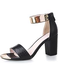 Mode Damen Damen Block Sandalen Pumps Riemchen High Heels Peep Toe Party Schuhe Größe UK