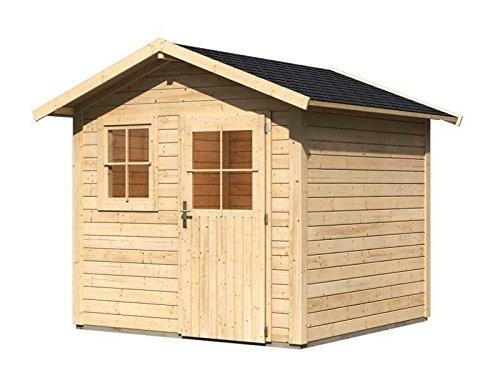 Karibu Gartenhaus Linau 5 natur 28 mm inkl. Schindeln schwarz Außenmaß (B x T): 244 x 244 cm...