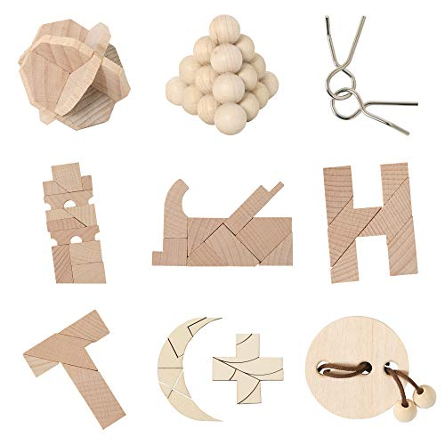 Bartl 500271 Knobelspiele aus Holz Puzzle Set H (9 Puzzles) Geschicklichkeitsspiele für Erwachsene und Kinder