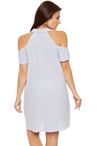 WEARALL Damen Damen Gestreift Kragen Hemd Kleid Damen Druck Kalt Weg Schulter Schaltfläche - 36-42 Blau