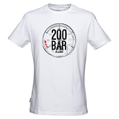 Lexi&Bö T-Shirt Taucher Tauchen Herren 200 Bar aus Hochwertiger Bio-Baumwolle Fair produziert in Portugal weiß L