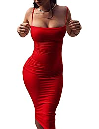 OUFour Estivo Vestito a Tubino Donna Pin Up Senza Schienale Vestiti Strette  Midi Matita Abito da 5fcc1bffb63