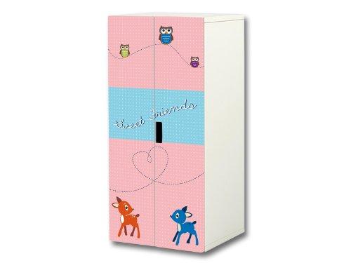 """""""Sweet Friends"""" Aufkleber-Set passend für den Kinderzimmer Schrank STUVA von IKEA (Korpus: 60 x 128 cm) – SC23"""