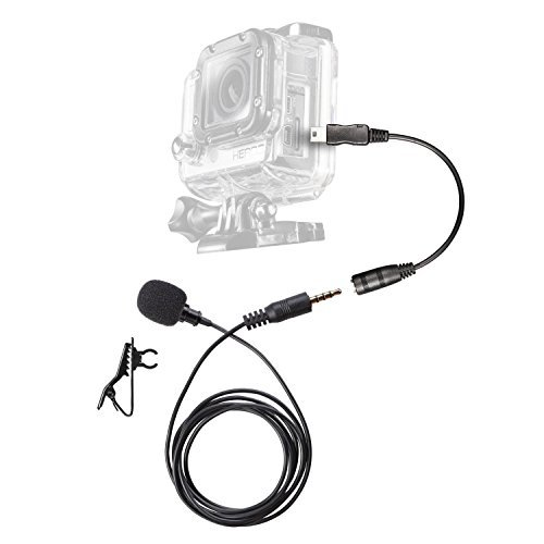 Lavalier Clip-on MIC Omnidirectional Condenser External Microphone 3.5mm w Mini USB Adapter for GoPro HERO4 HERO3 Hero3 Black Silver White Music Edition  available at amazon for Rs.2624