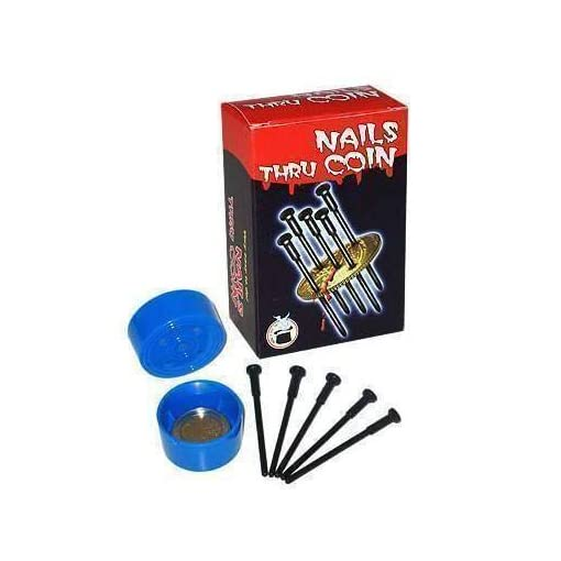 Nails-Thru-Coin-With-5-Nails-Magie-mit-Tuch-Zaubertricks-und-Magie