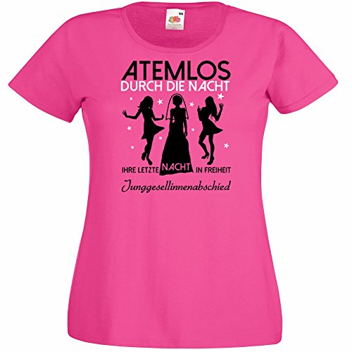 Damen T-Shirt für den Junggesellenabschied mit Motiv Atemlos - IHRE letzte Nacht in Freiheit (Frauen) in pink, Größe S