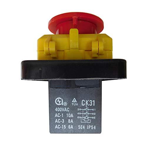 CK31 400V 10/8A 6 Pins Wasserdichte Elektromagnetische Druckschalter Elektrowerkzeug Not-Aus-Schalter für Industrieanlagen Elektrowerkzeuge Schneidemaschinen. TÜV IP54