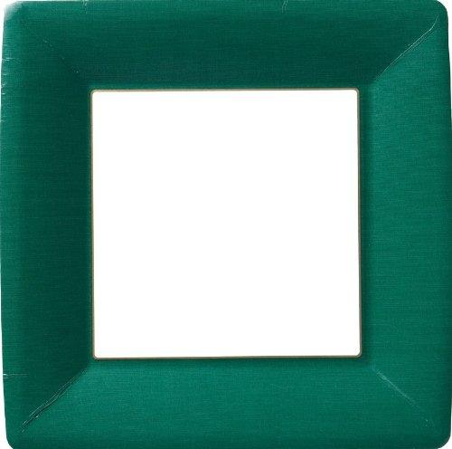 Ideal Home Range Pappteller, quadratisch, 8 Stück PAPER DINNER PLATE SQUARE CLASSIC LINEN dark green Green Square Dinner Plate
