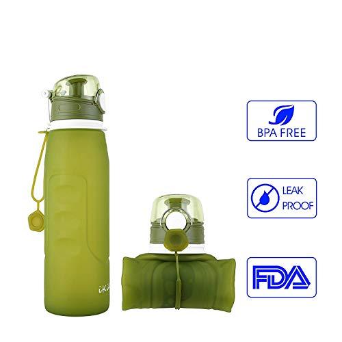 Faltbare Wasserflasche, IKiKin Silikon Gel, Medical Grade, BPA frei, Leckproof Silikon Faltbare Sportflasche für Sport, Outdoor, Reisen, Camping, Picknick (1000ml 1L 35 oz ) (Grün)