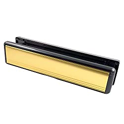Welseal 12-Inch UPVC Door Polished Letterbox/Letter Plate Mid Rail - Gold/Black