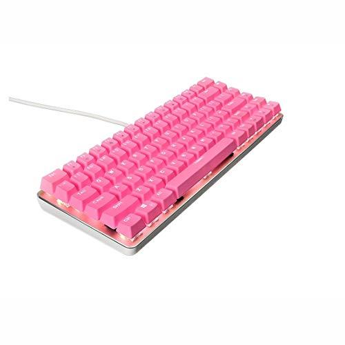 MALLTY Rosa mechanische Gaming-Tastatur Blauer Schalter RGB-Tastatur mit Kabel 82 (Farbe : Rosa) -