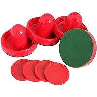 Prettygood7 - Juego de 4 porcelanas de hockey de aire para mesa (4 unidades), color rojo