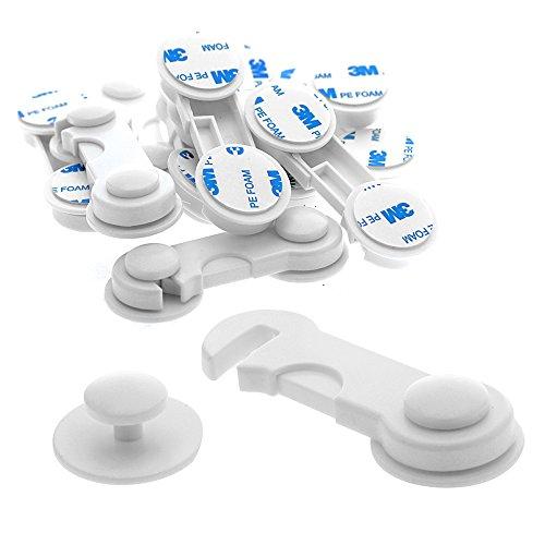 Offgridtec 007805 Türsicherung Schranksicherung Schubladensicherung Kindersicherung Türriegel, 10 Stück, weiß
