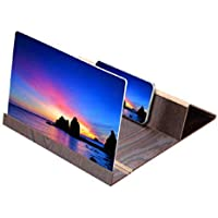 Bonanic 3D Mobile Phone Screen Stereoscopic Projection Magnifier Amplifying 12 Inch Desktop Wood Bracket Wooden Foldable Phone Holder HD Movie Video Stand for All Smartphone