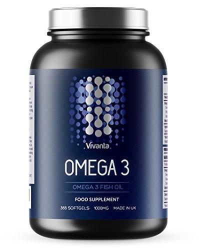 Omega 3 – 1000 mg x 365 Kapseln | Jahresvorrat | Omega-3 Fischöl, Spitzenqualität in Großbritannien hergestellt | 365 Weichkapseln