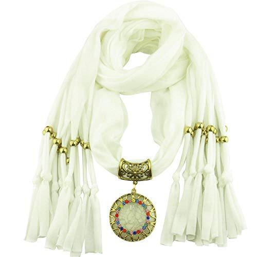 YEBIRAL Schal Damen Schal Anhänger Quaste Frauen Mode Accessoires Deckenschal Halstuch Schals(Weiß) (City Party Loop)