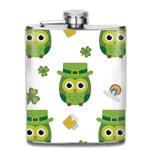 Werert Stainless Steel Flasks 7 Oz St Patrick's Day Clovers and Cute Owls with Green Hat Polyester Printing Outdoor House Yard Flag Whiskey Flask Hip Flask Leak Proof Wine Men Women (Männer Hat Owl)