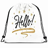 DHNKW Drawstring Backpack String Bag 14X16 Note Blue Greet Hello Namaste Beautiful Typo Scratched Introduction Border Calligraphic Creative Cute Letter Sport Gym Sackpack Hiking Yoga Travel Beach