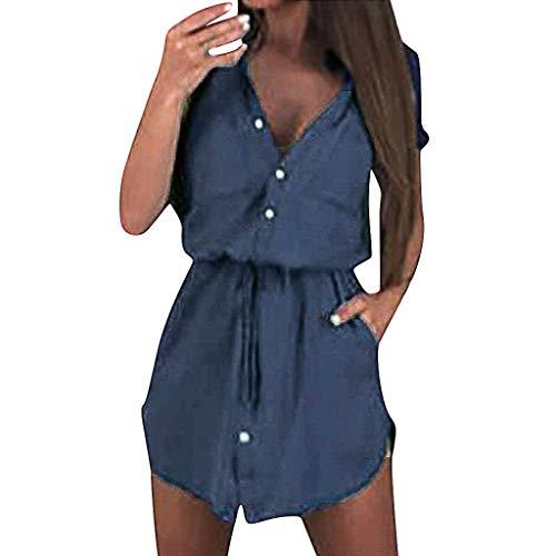 Wawer_Damen Kleid  Frauen Dame Sexy Sommer Solide Kurzarm Gürtel Einreiher Knopf Minikleid, Freizeit Einkaufen Reisen - Einreiher Mit Gürtel