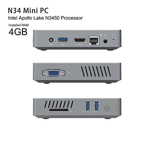 N34 Fanless Mini PC  4GB Ram 64GB eMMC Support DIY SSD  Intel Celeron N3450  up to 2 2 GHz  HD Graphics 500  1000Mbps LAN 2 4G 5 8G WiFi BT 4 0  HDMI VGA Dual Output  Support Linux Ubuntu