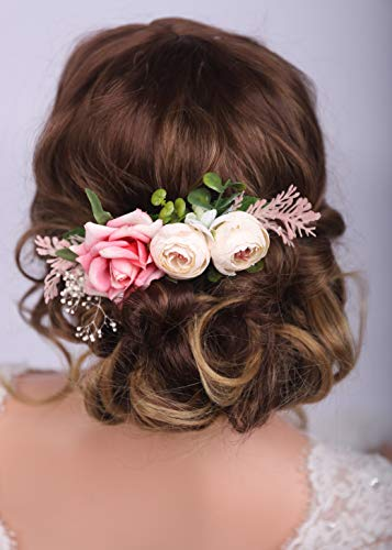 Kercisbeauty Haarschmuck, Rose, Blumen, Haarschmuck, Haarschmuck, für Damen, Mädchen, Festival, Party, Rosa