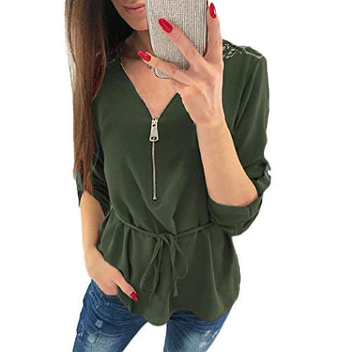 Xiantime Blusen Damen Bluse Damen Tuniken Chiffon Damen Tief V Elegant Sexy Tops Sommer Kausal Bluse...
