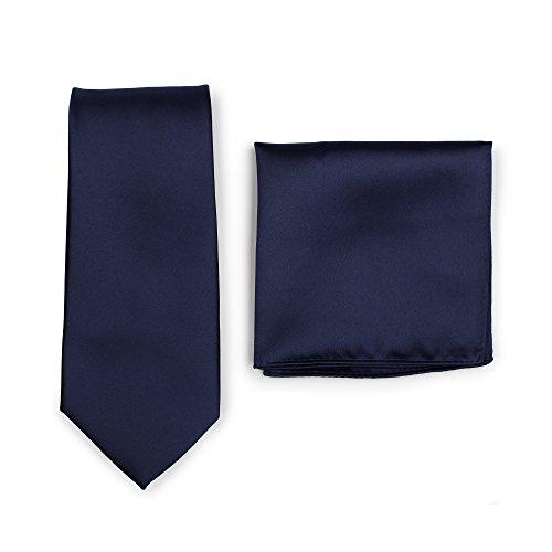 Puccini Krawatte + Einstecktuch Set Herren, Einfarbig, 20 Farben, Satin-Glanz, Handarbeit, Hochzeit – Alltag – Büro (Dunkelblau)