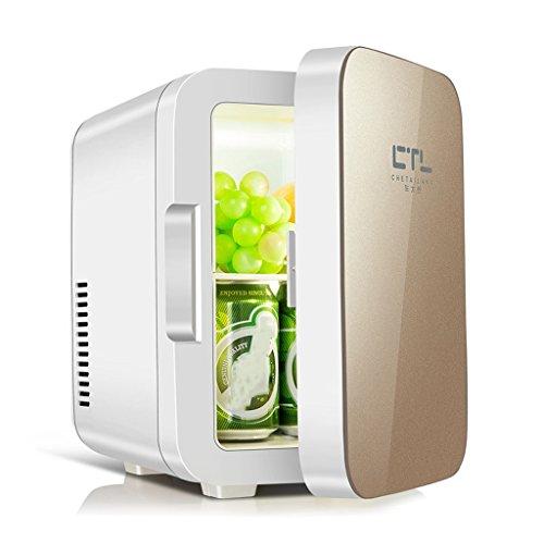 Car refrigerator-TOYM Silent Mini Kühlschrank 6L - Gehärtetem Glas Tür (Farbe : Gold)