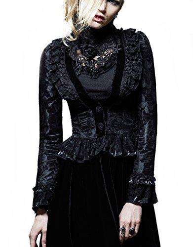 Samt kurzer Jacket Barock Kostüm Gothic Kei Punk Rave schwarz Frack Bünnenoutfit (S, schwarz) (Burlesque Kostüm Designer)