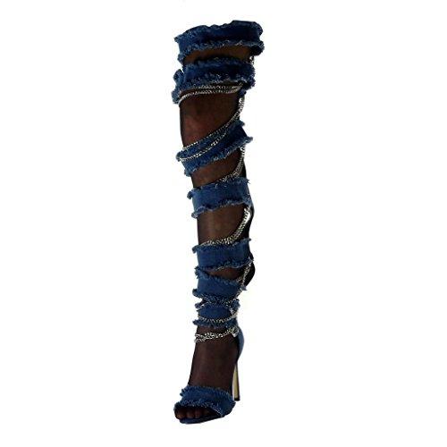 Angkorly - Damen Schuhe Oberschenkel-Boot Stiefel - Stiletto - Offen - Jeans Denim - Kette - zerrissene - ausgefranst Stiletto high Heel 11.5 cm - Blau B7815 T 37