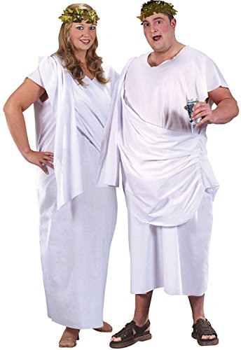 Kostüm Toga Outfit Party - Ladies Or Mens XL Plus Size White Roman Greek God Goddess Toga Party Historical Fancy Dress Costume Outfit (One Size (Plus))