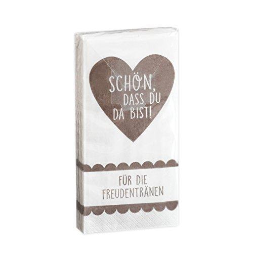 10 x 10 Taschentücher 'Schön, DASS du da bist - Für die Freudentränen' Taupe Vintage zur Hochzeit, Taufe oder Kommunion